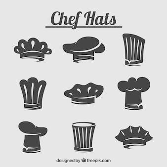 Набор силуэтов шляпы шеф-повара