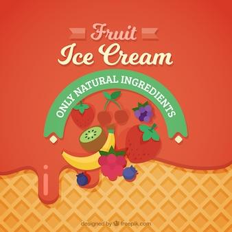 おいしいフルーツアイスクリームの背景