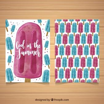 水色スタイルの青とピンクのアイスクリームが入った素晴らしいカード