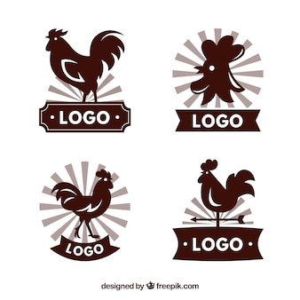 雄鶏のシルエットを持つ素晴らしいロゴのセット