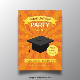 オレンジ色の卒業パーティー招待状