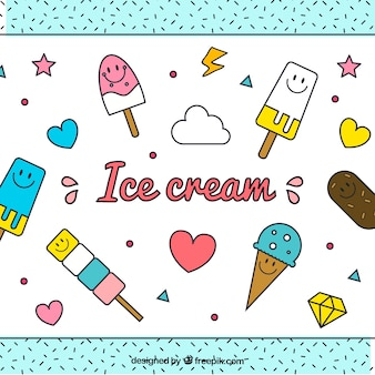 幸せな手描きのアイスクリームの背景