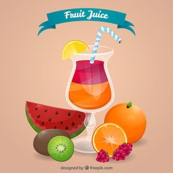 Отличный фон с напитками и цветными фруктами
