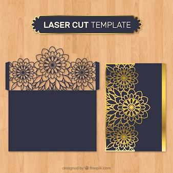 レーザーカットの黄金の花の封筒