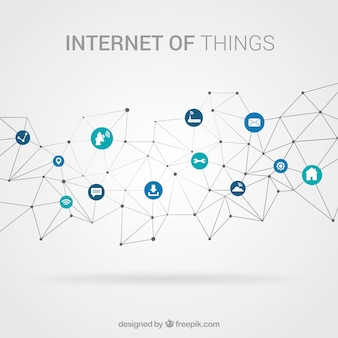 Полигональный фон с элементами, подключенными к интернету