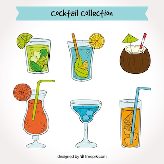 Ассортимент рисованных коктейлей