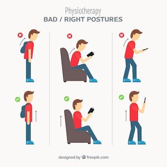正しい姿勢と正しい姿勢のパック