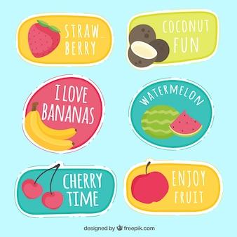 Пакет рисованных фруктовых наклеек