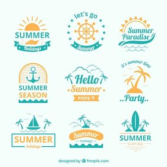 Синяя и желтая коллекция летних логотипов