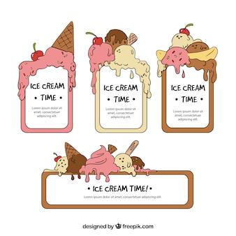 Набор нарисованных вручную наклеек мороженого