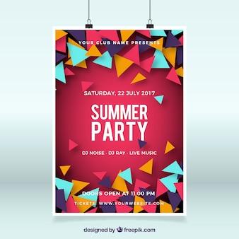 Летний шаблон плаката для вечеринок