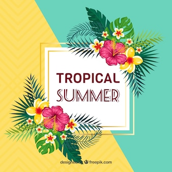 熱帯の花と夏の背景