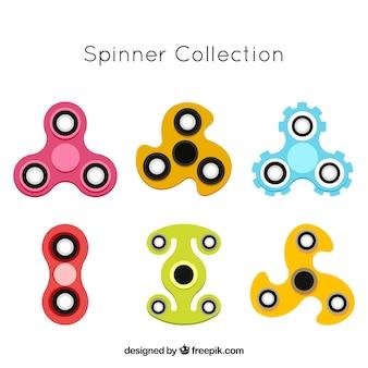 Ассортимент цветных прядильщиков в плоском дизайне