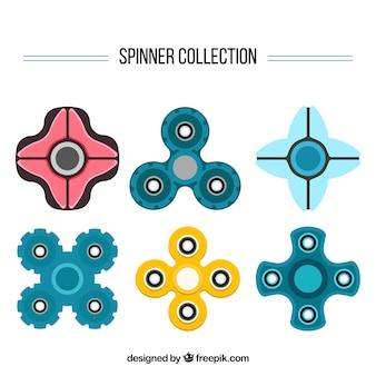 Коллекция прядильщиков в плоском дизайне