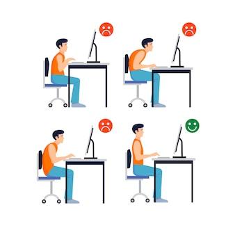 コンピュータの正面に正しい姿勢と正しくない姿勢のセット