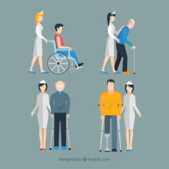 フラットデザインの怪我人を助ける看護師のセット