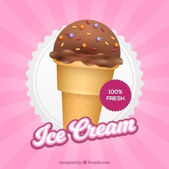 チョコレートアイスクリーム入りビンテージピンクの背景