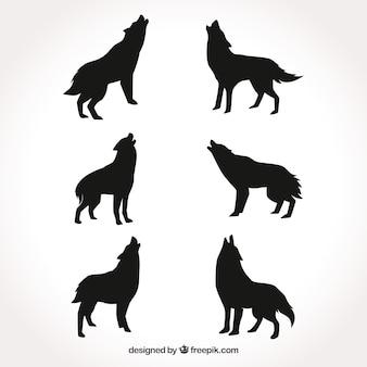 Коллекция силуэтов волка