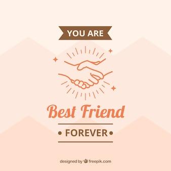 手での背景と友情のメッセージ