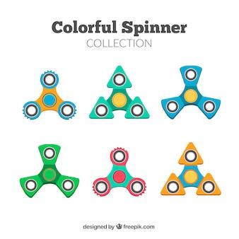 Шесть цветных прядильщиков в плоском дизайне