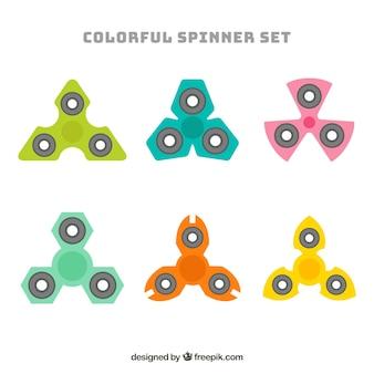 Коллекция цветных прядильщиков в плоском дизайне