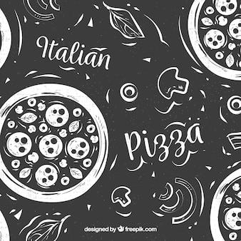 黒と白のピザ