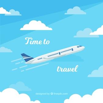 フラットデザイン飛行機の旅行の背景