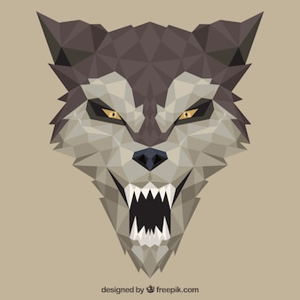 フラットデザインのオオカミの顔