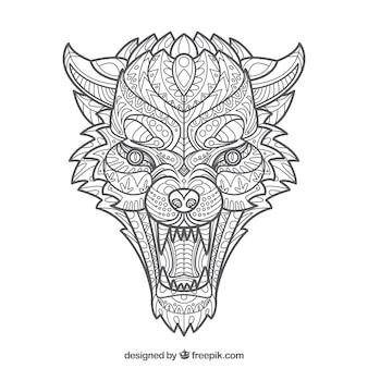 Абстрактный дизайн этнического волка