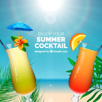Реалистичный коктейльный фон на пляже