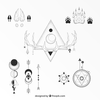 古典的な民族的な幾何学的な入れ墨のコレクション