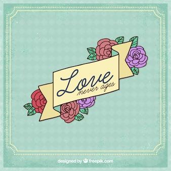 花のデザインで愛の背景