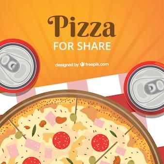 Плоский дизайн пиццы и напитков фон