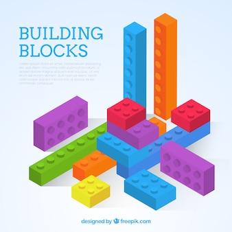 等色の背景にあるカラフルなブロック