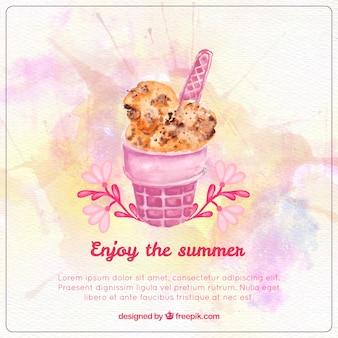 おいしい水彩夏のアイスクリーム