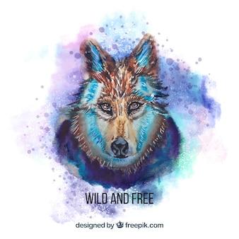 水彩画の危険なオオカミの顔