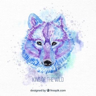 水彩画オオカミと捕食者