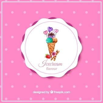 水彩アイスクリームコーン