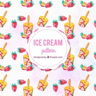 水彩ストロベリーアイスクリームのパターンの背景