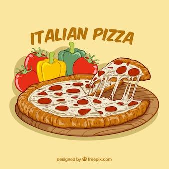 手描きのイタリアのピザの背景