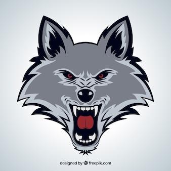 野生のオオカミの顔