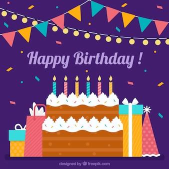 День рождения торт и подарки фон