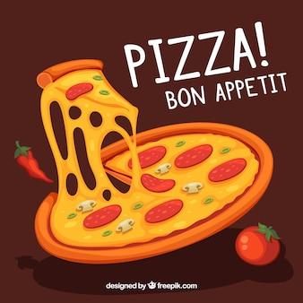 チーズ付きの美味しいピザの背景