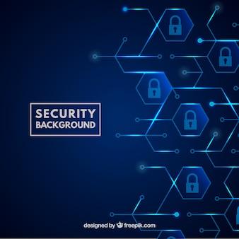 南京錠付き青色のセキュリティー背景
