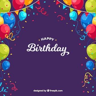 День рождения с разноцветными воздушными шарами и конфетти
