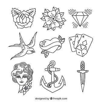 様々な手描きの入れ墨のコレクション