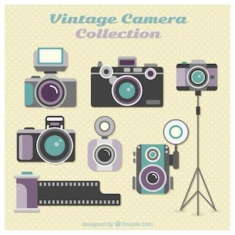 Коллекция старинных камер с плоским дизайном
