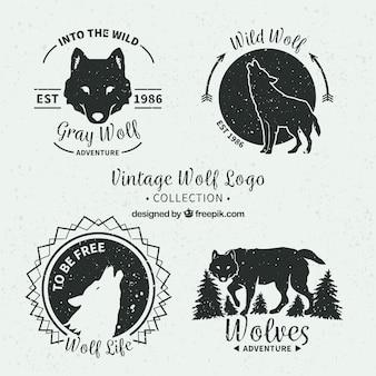 Винтажные волки логотипы
