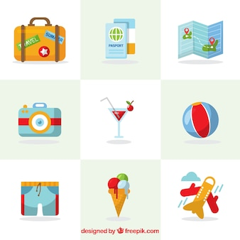 夏の旅行の要素のコレクション