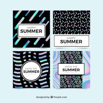 抽象的な形の夏のカードのパック